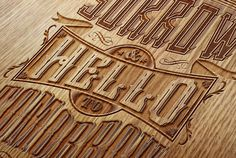 laser etched wood #Typography #materials #innovation