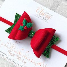 the elf and candy cane set christmas bows elf bows red and green bow glitter bows stocking filler christmas headbands candy cane bow - Life ideas Making Hair Bows, Diy Hair Bows, Diy Bow, Red Hair Bow, Christmas Bows, Christmas Crafts, Green Christmas, Christmas Headbands, Diy Headband