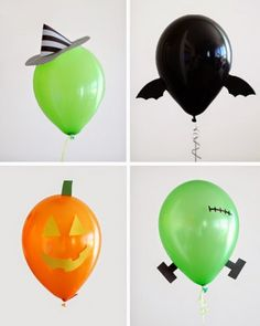 Halloween snacks, games and decor for kids parties. Make this year's Halloween spookier, tastier, and better than ever with our ghoulish guide. Diy Halloween, Halloween Balloons, Adornos Halloween, Manualidades Halloween, Halloween Birthday, Halloween Candy, Holidays Halloween, Happy Halloween, Halloween Decorations