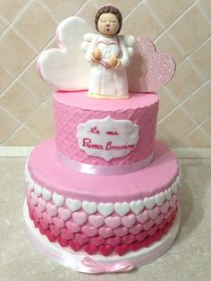 Thun cake, prima comunione, cuori rosa, Angelo thun