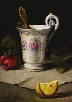 Still life with tea cup and lemon by Natalia Ivan Clarke Oil ~ 7 x 5