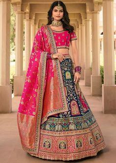 #navy #blue #woven #banarasi #silk #bridal #lehenga #choli #dupatta #designs # traditional #indian #outfits #gorgeous #wedding #look #ootd #new #arrival #womenswear #online #shopping Pink Lehenga, Bridal Lehenga Choli, Lehenga Blouse, Salwar Kameez, Kurti, Kids Collection, Designer Bridal Lehenga, Navy Blue Blouse, Lehenga Online