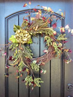 Fall WreathAutumn Wreath BerryTwigHoliday by AnExtraordinaryGift, $75.00