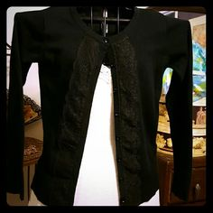 Sweater with lace Black sweater with lace detail and faceted black buttons, it's a snug XL Cherokee Sweaters Cardigans
