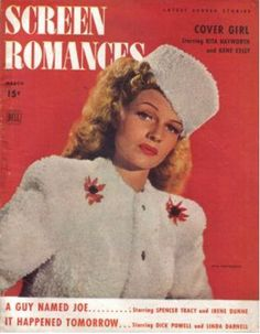 Rita Hayworth on the cover of Screen Romances magazine, March 1942, USA.