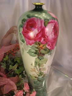 """Antique Limoges France Vase 14"""" Tall Hand Painted Roses Vintage Victorian China Painting of PINK ROSES Handpainted Floral Art Fine French Po..."""