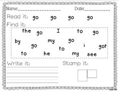 Sight Word Writing Practice - I like the finding portion as well as having them read it a few times. Perhaps use pointers???