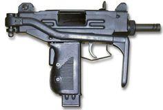 gun   Micro-Uzi submachine gun with shoulder stock folded.