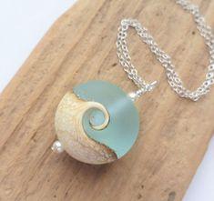 Wave Necklace Beach Necklace Lampwork Sea Glass Necklace