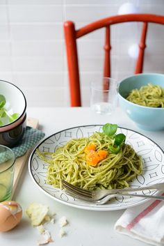 Spaghetti with spinach pesto, sheep's-milk cheese and soft boiled eggs