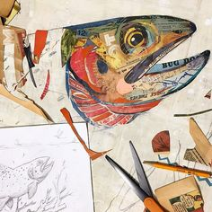 Greenback Cutthroat Trout Paper Collage Art - Greenback Cutthroat Trout Paper Collage Art The next work in our fly fishing inspired series, this original paper collage features a colorful cutthroat trout swimming in a stream below a mayfly hatch. Fish Collage, Paper Collage Art, Collage Art Mixed Media, Collage Collage, Frida Art, Collage Illustration, Art Graphique, Print Artist, Fabric Art