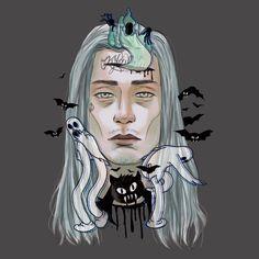 "Champagne Chen on Instagram: ""🦇👻🦇 @ghostemane .  #ghostemane #blackmage #rapper #tattoo #art #fanart #drawing #dope #painting #ghost #digitalart #illustration #champagnechen"" Donnie Darko Tattoo, Rap Us, Black Mage, Dope Wallpapers, Lil Pump, Music Like, Aesthetic Iphone Wallpaper, Big Love, Body Art Tattoos"
