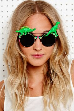 Spangled Disco Dino Sunglasses in Neon, very casual