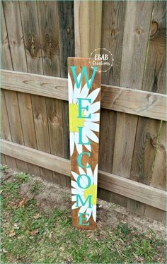 Welcome Sign - Welcome - Flower Sign -Front Porch Welcome Sign - Porch Decor - Outdoor Sign - Wood Sign - Spring Sign Pallet Crafts, Wooden Crafts, Diy Crafts With Wood, Painted Wood Crafts, Cardboard Crafts, Wooden Diy, Welcome Flowers, Porch Welcome Sign, Welcome Signs