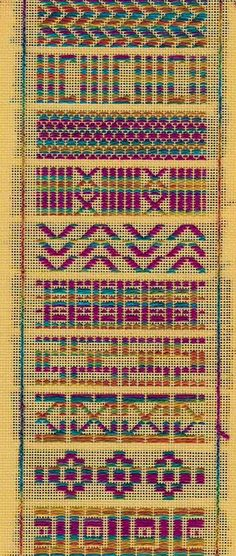 Kogin (Japanese pattern darning) Sampler:  designed and stitched by needlepoint expert janet m. perry