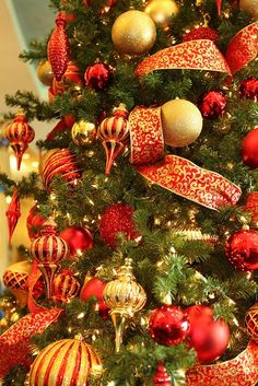 Red and Gold Christmas Decorations, via Flickr. #Christmas #thanksgiving…