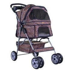 Leopard Skin bestpet 4 Wheels Pet Dog Cat Stroller w/RainCover ** Details can be found by clicking on the image. (This is an affiliate link and I receive a commission for the sales) #PetDogs