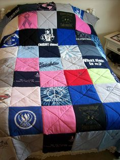 This is a sample quilt that can be resemble one made from your own t-shirts!!! A total of 63 tees make it up. It is a twin/double coverlet.  We call it our raggedy quilt style. All the tee squares are 12x12 and the edges are cut and curl to look raggedy.  Great gift for the graduate of high school or college!!! Who hasnt saved tons of t-shirts that they love, cant part with or dont fit into anymore!!!  You send us your tees and we do the rest!!! Approximate time to finish the quilt and…