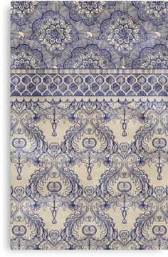 Vintage Wallpaper - hand drawn patterns in navy blue & cream Art Print by micklyn - X-Small Fabric Wallpaper, Pattern Wallpaper, Wallpaper Backgrounds, Vintage Wallpaper Patterns, Vintage Wallpapers, Motifs Textiles, Textile Prints, Art Prints, Art Vintage