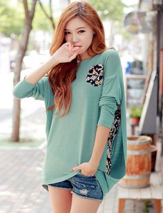 Korean Style Floral Printed Patch Pocket Tee #casual