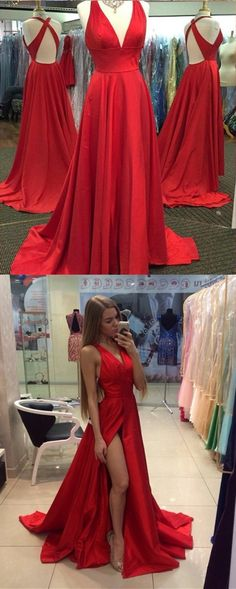elegant red prom party gowns, fashion deep v-neck evening dresses, chic dance party dresses with special back.