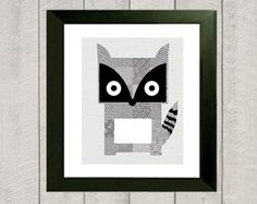 Raccoon Nursery Art Print  Woodland Nursery by DeliveredByDanielle, $11.00