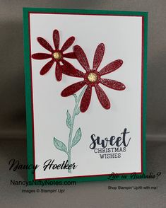 Daisy Lane by Stampin' Up! Cup of Christmas by Stampin' Up! Christmas Wishes, Christmas Colors, Christmas Cards, Cherry Cobbler, Flower Center, Glue Dots, Christmas Settings, Ink Pads, Nifty