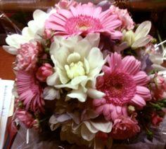 Bridesmaid's Bouquet - White Dahlias, Pink Mini Gerbera Daisies, Pink Spray Roses and Purple Stock
