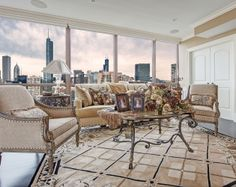 Formal Living Room Design over looking the beautiful Chicago skyline