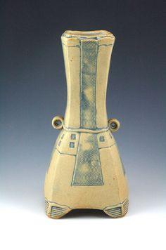 "Glenn Dair, Small Yellow Squared Stack Vase, 11""Hx5""x5"""