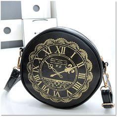 Harajuku Diagonal Clock Retro Shoulder Lolita bags