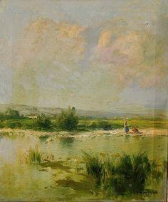 Eliseo Meifrén Roig. Paisaje fluvial. Óleo sobre lienzo. Firmado. 60 x 50 cm.