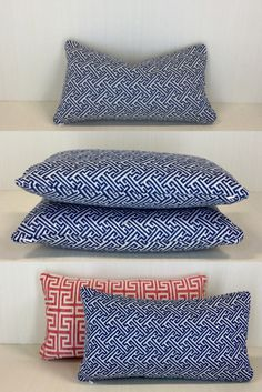 This Navy Greek Key pattern is the perfect classy touch to finish your home decor. It pairs perfectly with our bright coral fabric for a nice bold style. Our talented team would be happy to help with your home decor project! Down Pillows, Bed Pillows, Pillow Inserts, Pillow Covers, Coral Fabric, Geometric Fabric, Greek Key, Bold Fashion, Designer Pillow