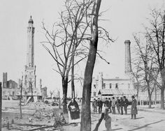Rebuilding around the Water Tower...Mich. Ave. in Chicago...1871