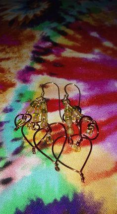 Wire wrap triple heart dangle earrings