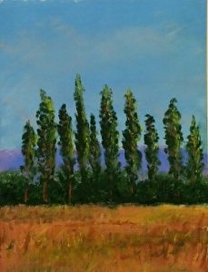 Trees on a forest with a field on the foreground. An original pastel painting available at Jose Carrilho Fine Art.