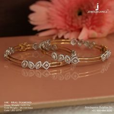 Real Diamond Luxury Design Get in touch with us on Gold Bangles Design, Gold Jewellery Design, Diamond Jewellery, Rose Gold Bangles, Handmade Jewellery, Gold Rings, Jewelry Design Earrings, Gold Earrings Designs, Gold Designs