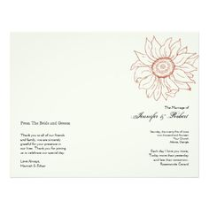 Cinnamon Sunflower Wedding Program