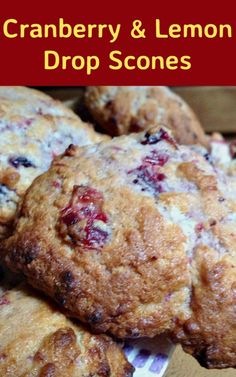 Cranberry and Lemon Drop Scones. These are wonderful little scones using left over cranberry sauce. They're great tasting, soft and moist. Delicious served warm or cold with a spread of butter! Only take minutes to make and incredibly easy!   Lovefoodies.com