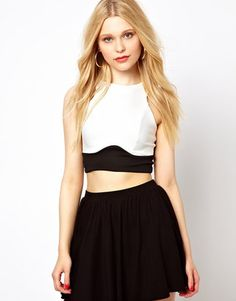 River Island Panelled Crop Top River Island