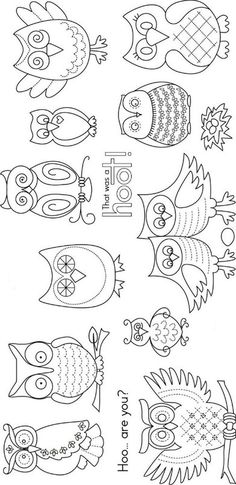 Line drawn owls. Embroidery.