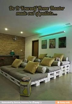 I am totally going to do this one day! #hometheater #house #movies #diy #furniture