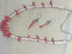 JAM    Pink Coral Necklace and Earrings