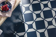Introducing Dovetail, encaustic patterned vinyl tiles from Harvey Maria. Harvey Maria, Dark Kitchens, Oxford Blue, Patterned Vinyl, Blue Floor, Vinyl Tiles, Floors, House Ideas, Collection
