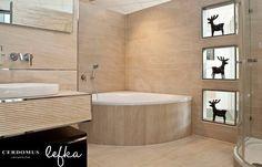 Cerdomus ' Lefka Gold' à Heidenheim - D Tile Patterns, Tiles, Bathroom Installation, Bathtub, Bathroom Designs, Gold, Beautiful, Room Tiles, Standing Bath