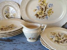 Vintage Netherlands Universal Cambridge, O Holland, Daffodil and Blue Flowers on Cream  Embossed Rimmed Dish Set