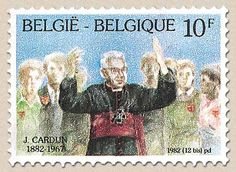 Cardijn birth centenary Belgian postage stamp