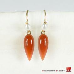OAS 14k Solid Gold Carnelian Pearl-Lollipop Earwire Dangle Earrings