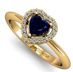 Best Of – Anel de Noivado de Ouro, Safira e Diamantes