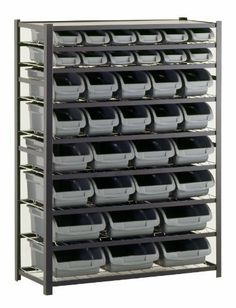 "Sandusky Lee UR4416BIN36 Black Zinc Steel Bin Shelving Unit with 36 Storage Bin, 57"" Height x 44"" Width x 16"" Depth by Sandusky Lee, http://www.amazon.com/dp/B006P5K01S/ref=cm_sw_r_pi_dp_X-Mnrb0TXA3NY"